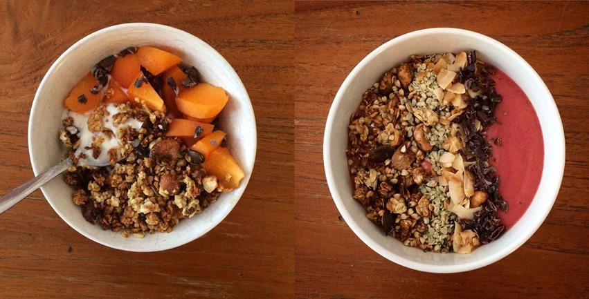 Granola smoothie bowl yaourt petit dejeuner muesli